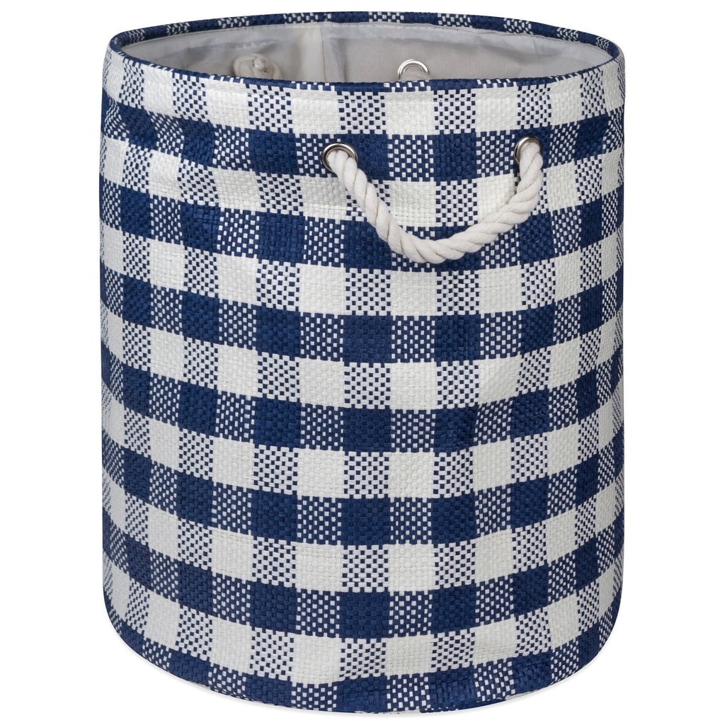 Paper Bin Checkers Navy Round Large 20x15x15