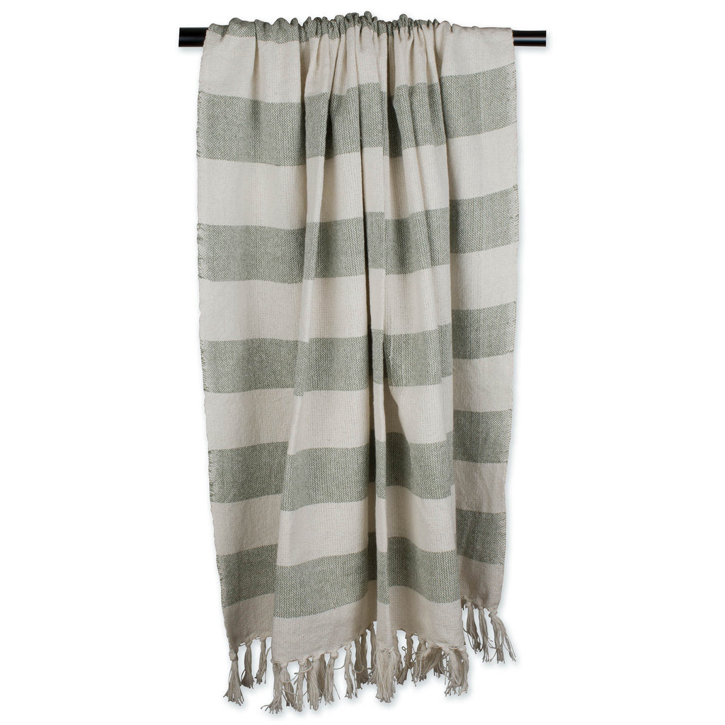 DII Artichoke / Off White Cabana Stripe Throw