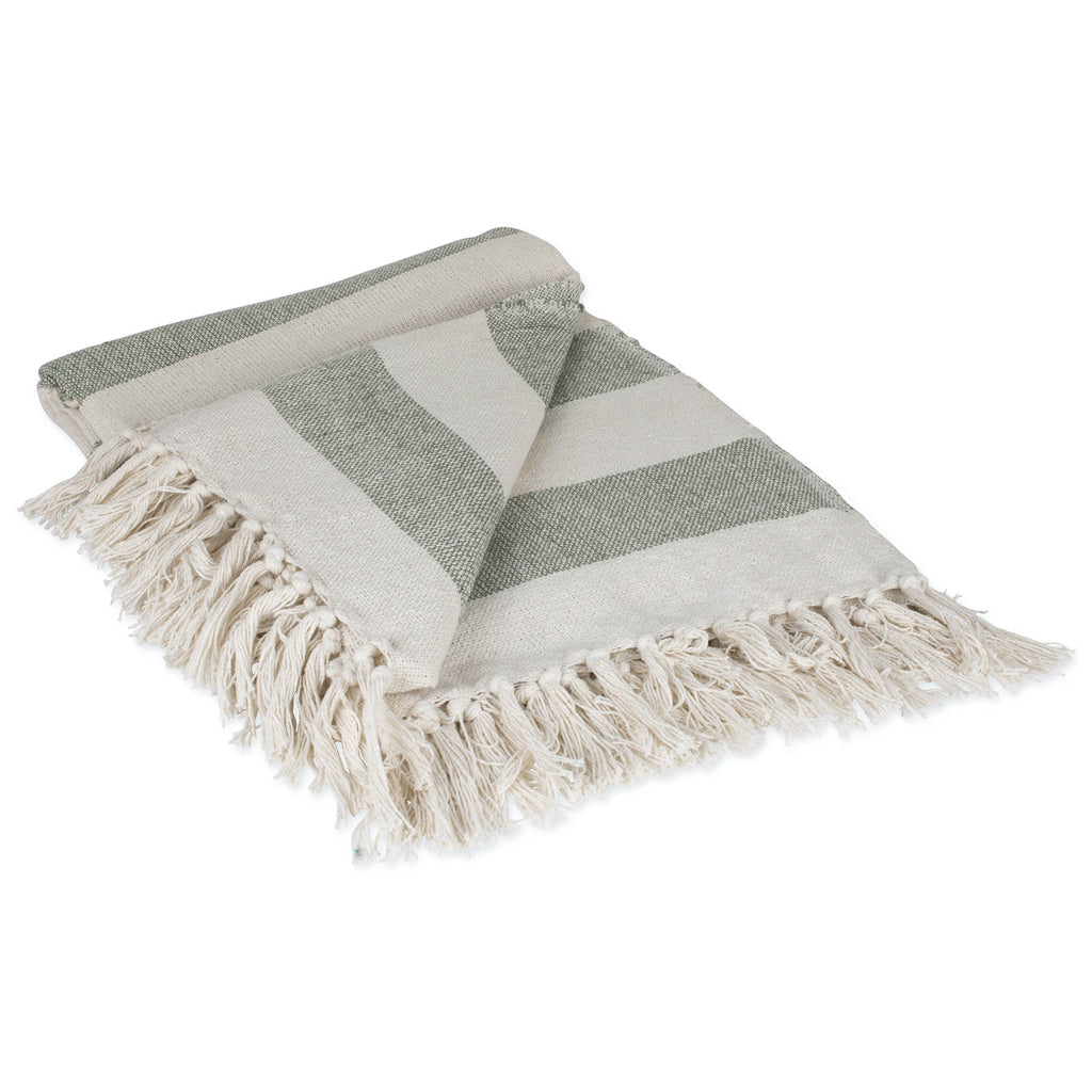 Artichoke / Off White Cabana Stripe Throw