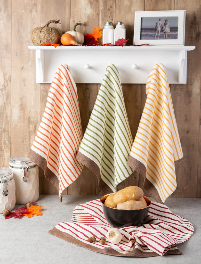 DII Harvest Prep Stripe Woven Dishtowel (Set of 4)