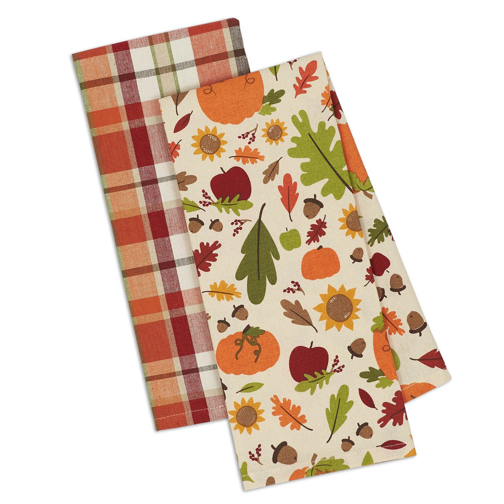 Asst Pumpkin Harvest Printed Dishtowel Set/2