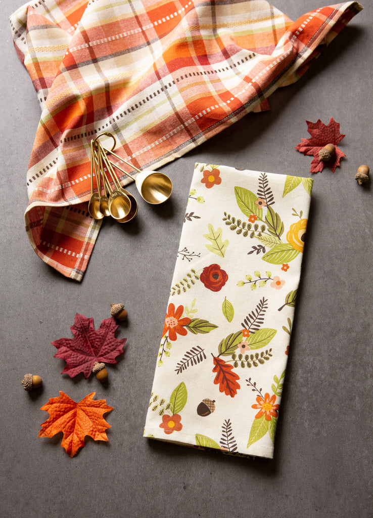 DII Assorted Pumpkin Harvest Printed Dishtowel (Set of 2)