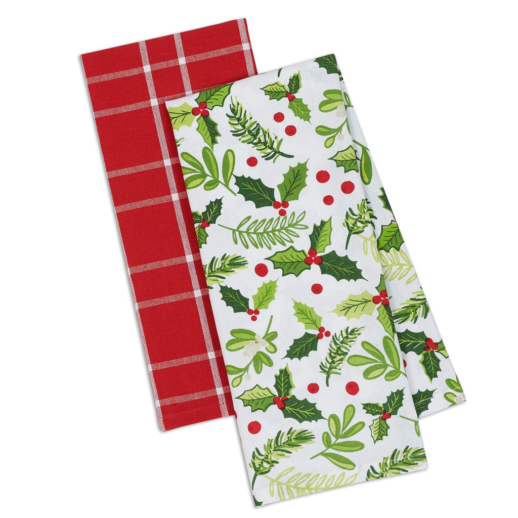 Asst Boughs Of Holly Dishtowel Set/2