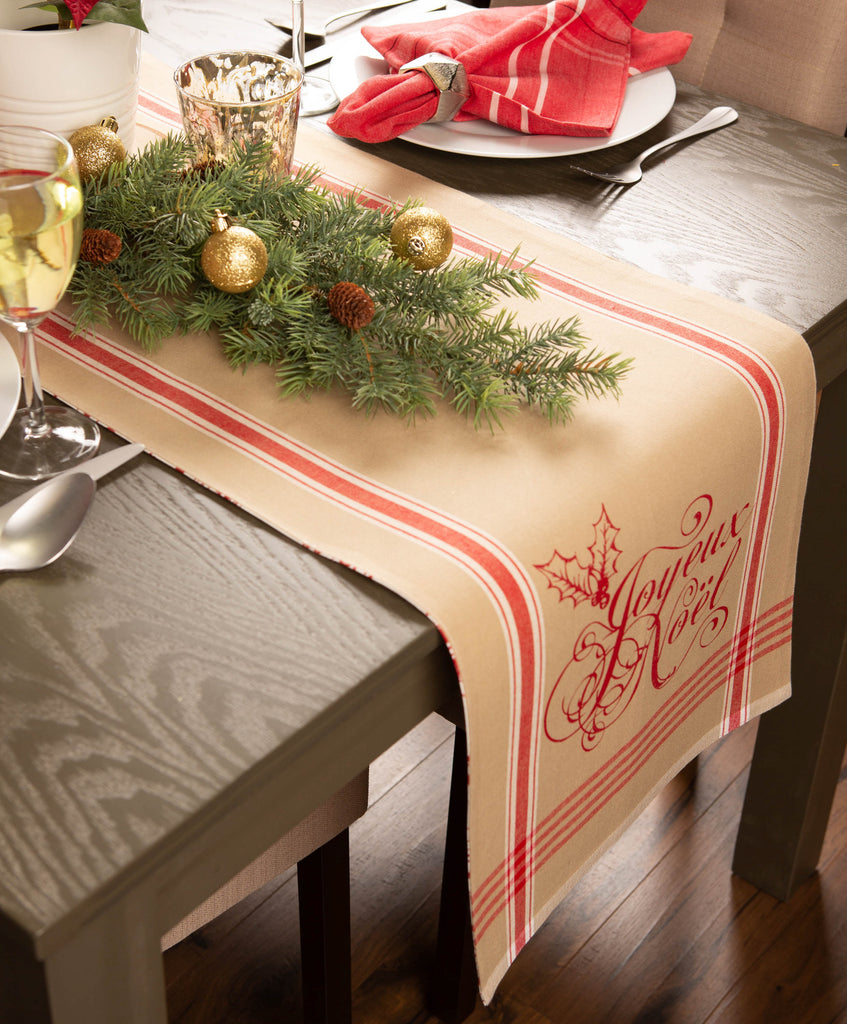 DII Joyeux Noel Printed Table Runner, 14x72""