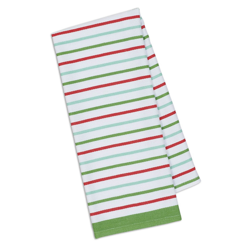DII Dishtowel Set Holiday Ornaments And Stripes (Set of 2)