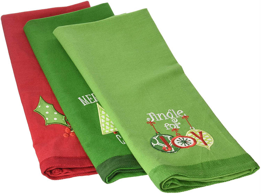 DII Assorted Christmas Emroidered (Set of 3)