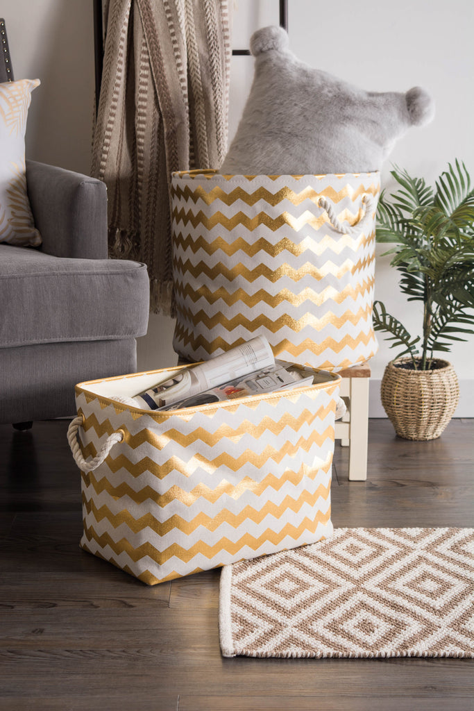 DII Polyester Bin Chevron Gold Rectangle Large