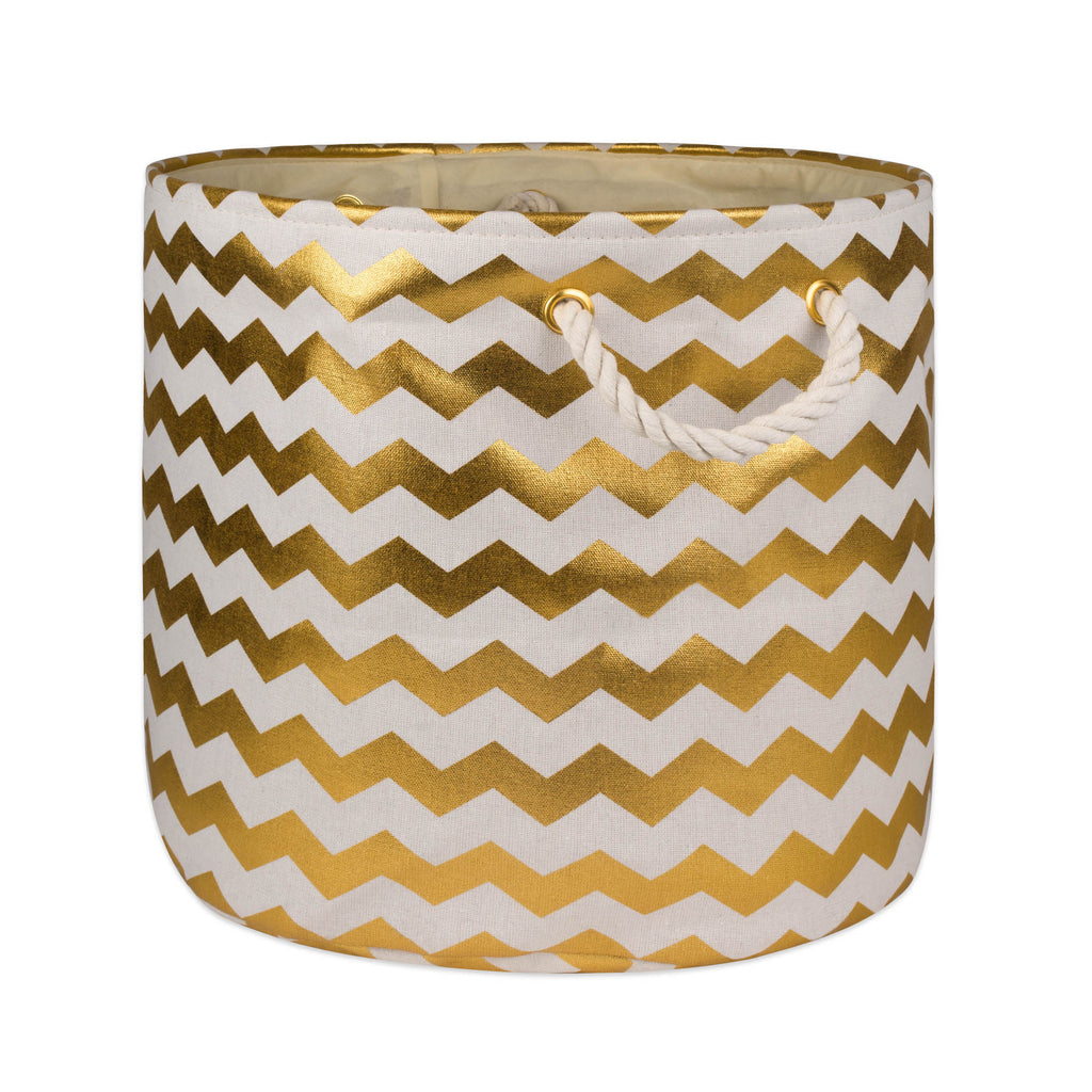 Polyester Bin Chevron Gold Round Medium 12x15x15
