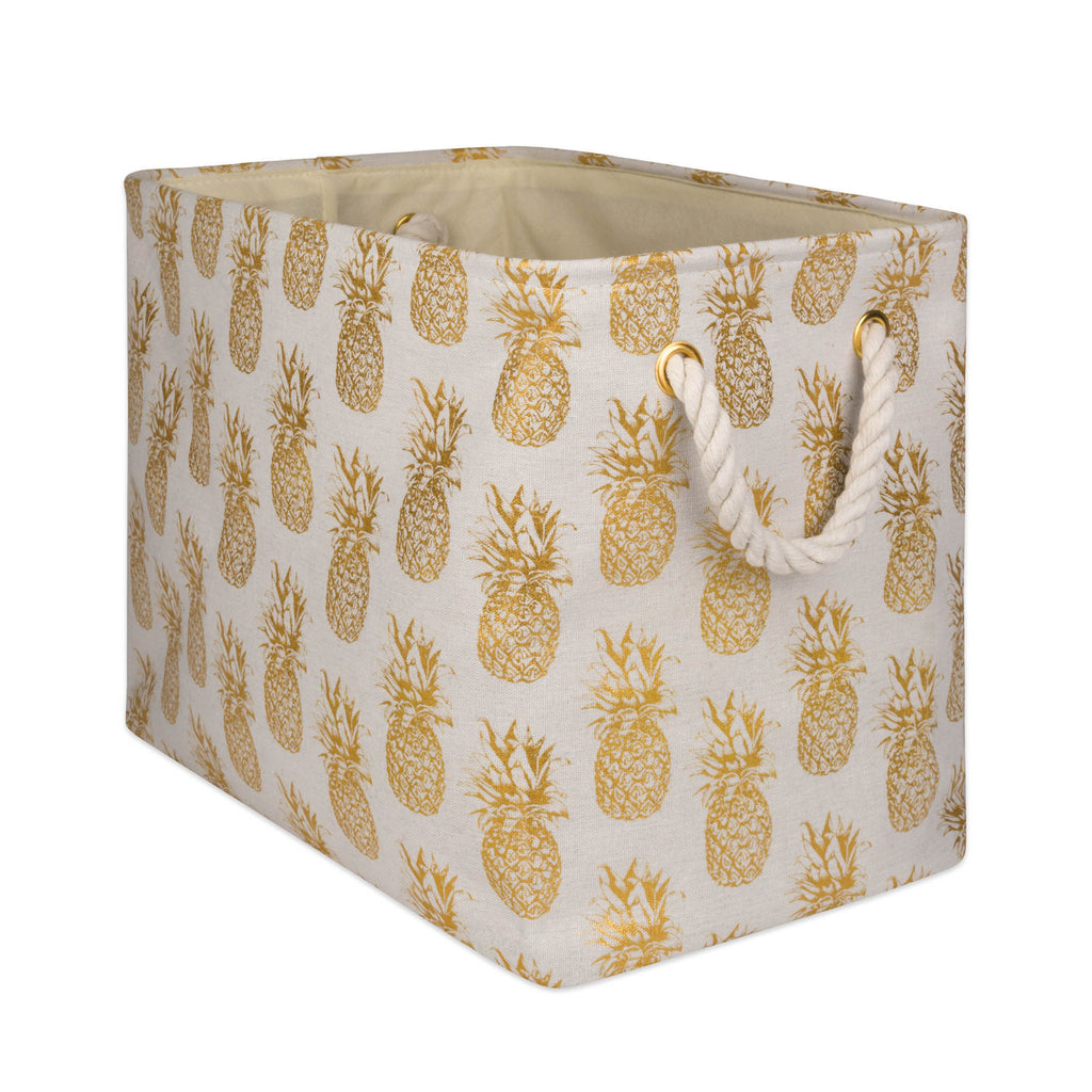 Polyester Bin Pineapple Gold Rectangle Medium 16x10x12