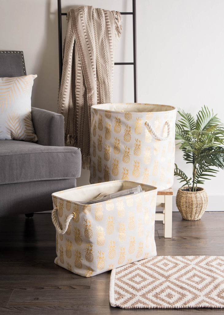 DII Polyester Bin Pineapple Gold Rectangle Medium