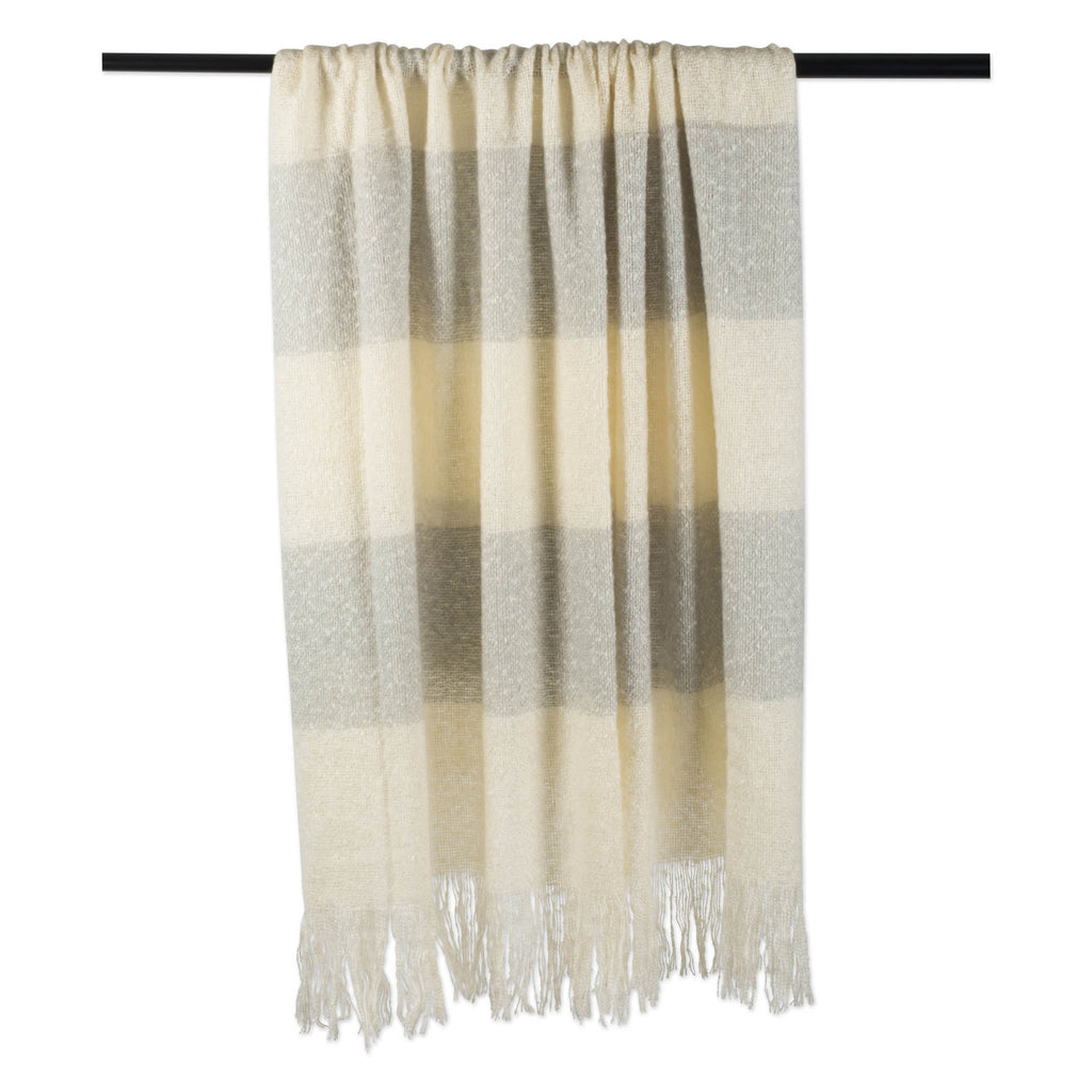DII Rugby Stripe Acrylic Throw Gray