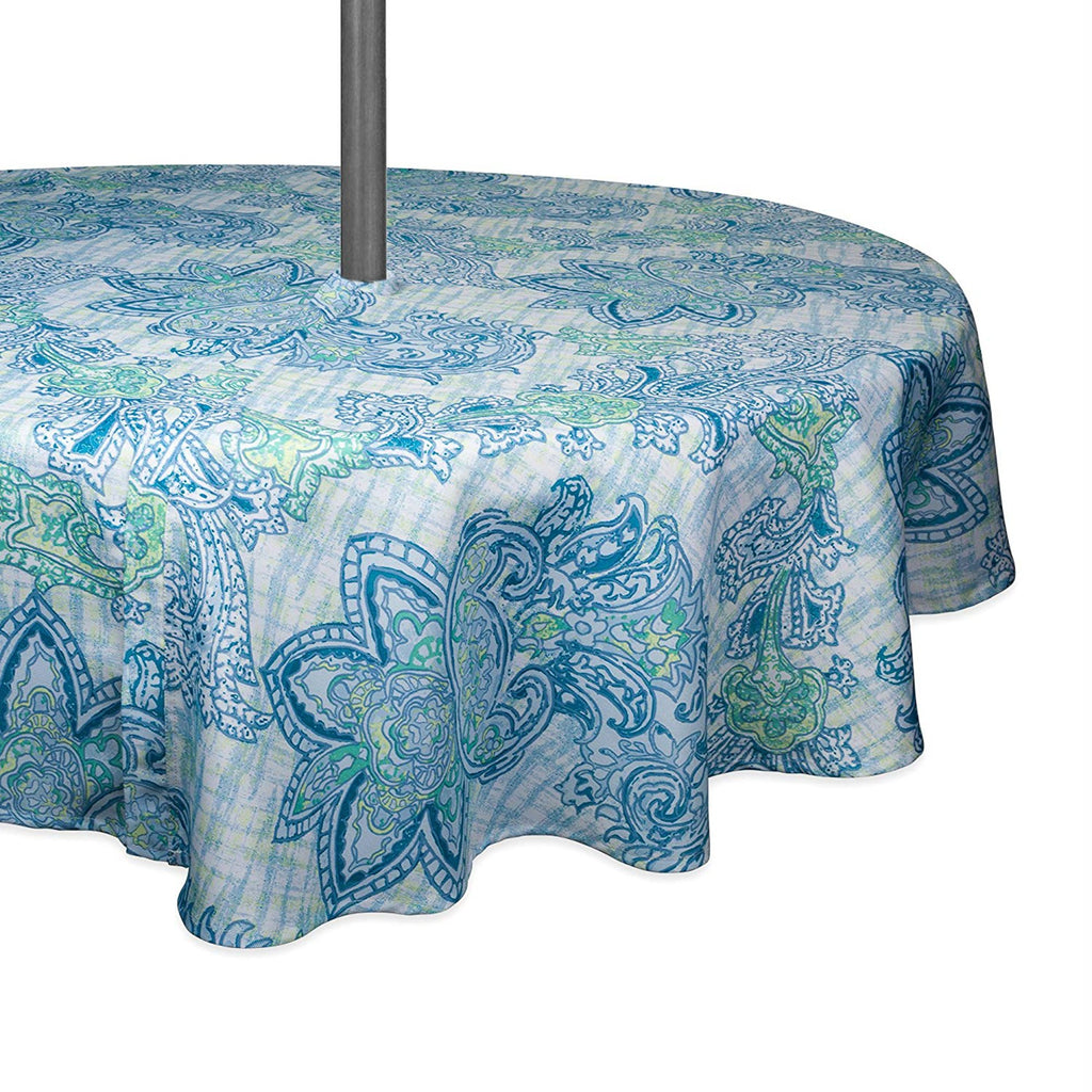 Blue Watercolor Paisley Print Outdoor Tablecloth With Zipper 52 Round