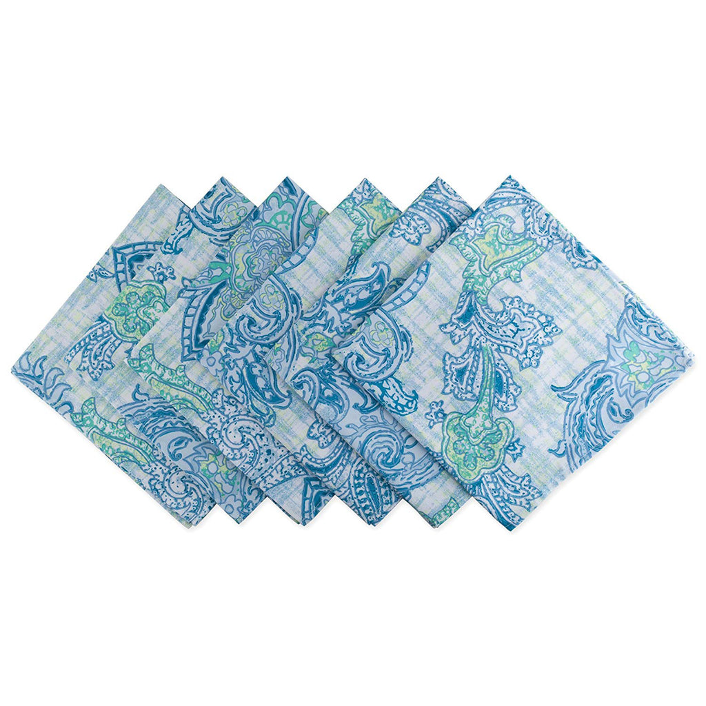 Blue Watercolor Paisley Print Outdoor Napkin Set/6