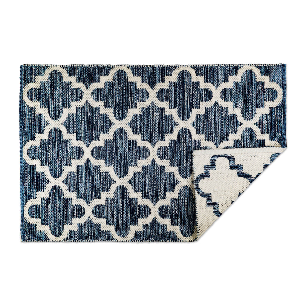 Blue Lattice Hand-Loomed Rug 2x3 Ft