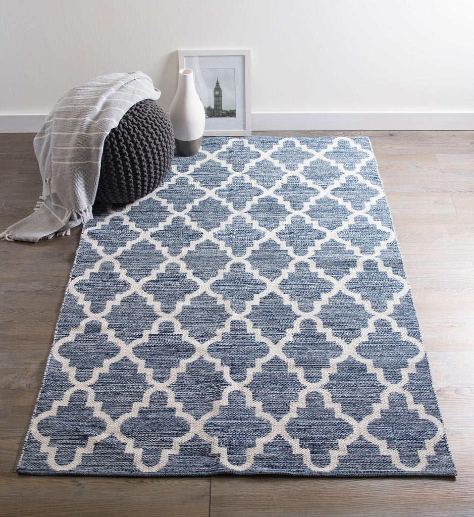 DII Blue Lattice Hand-Loomed Rug