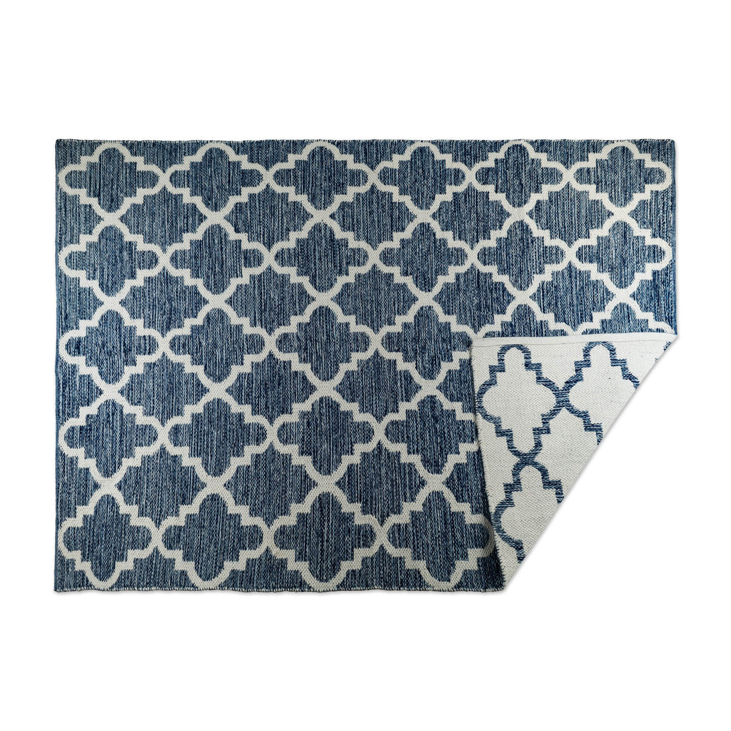 Blue Lattice Hand-Loomed Rug 4x6 Ft
