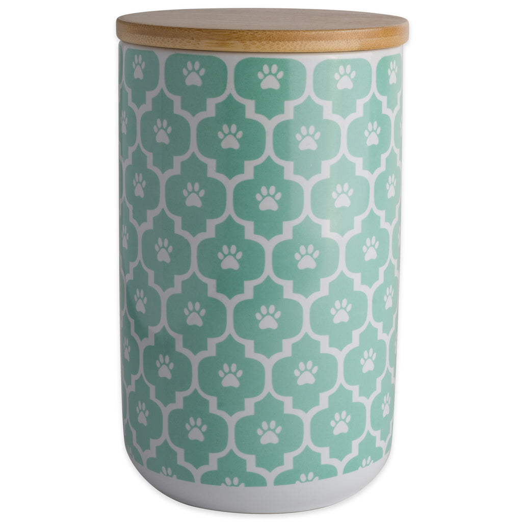 Aqua Paw Lattice Print Ceramic Treat Canister