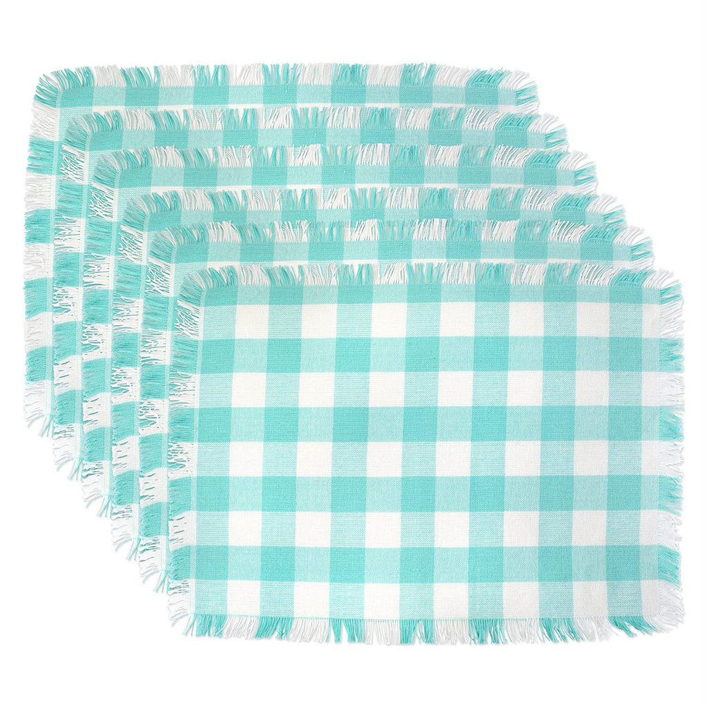 Aqua Heavyweight Check Fringed Placemat Set/6