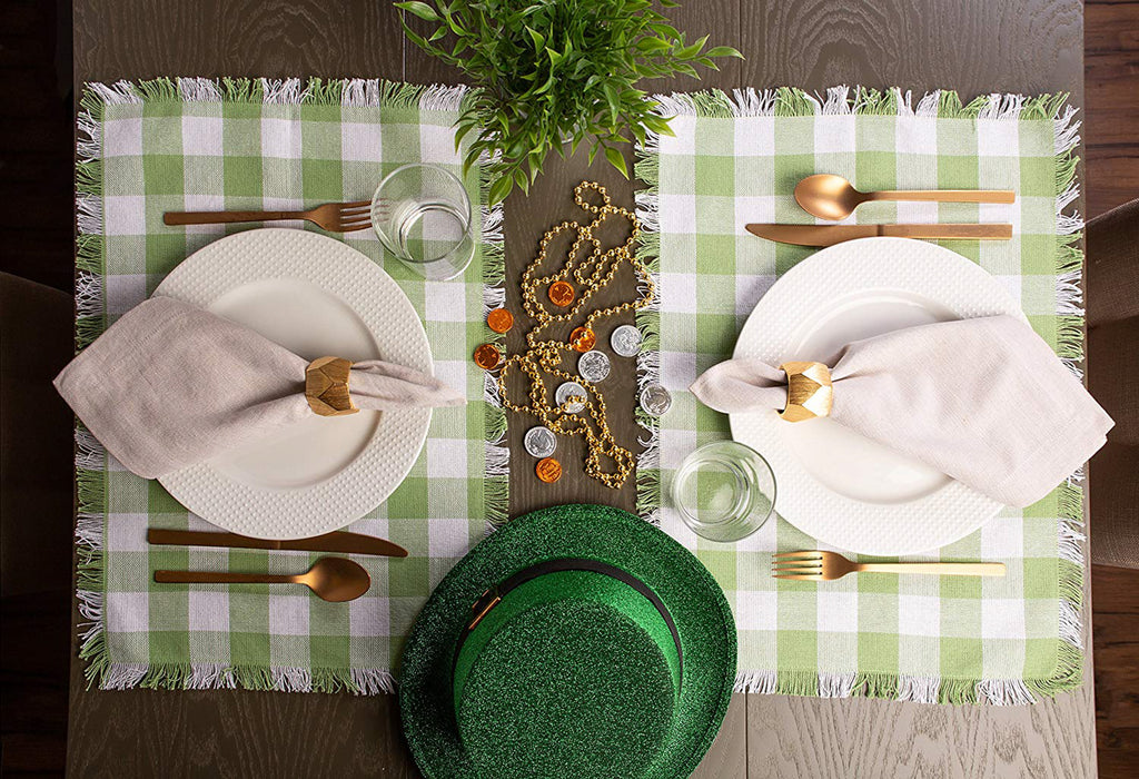 DII Bright Green Heavyweight Check Fringed Placemat (Set of 6)