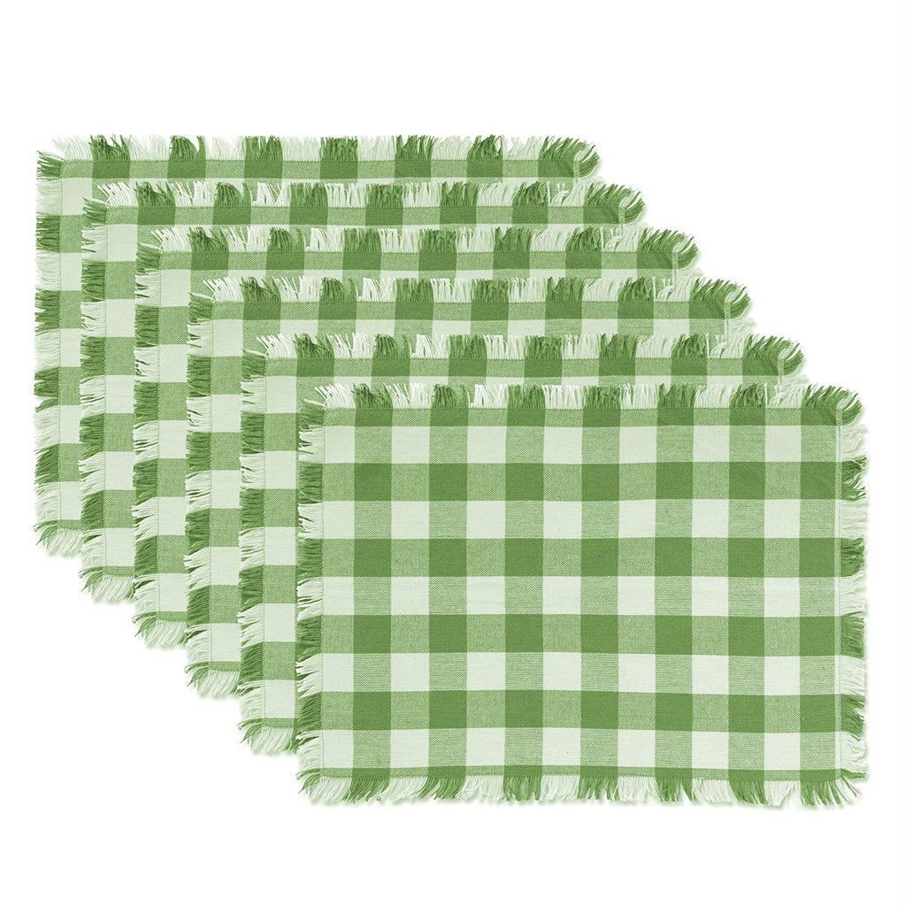 Bright Green Heavyweight Check Fringed Placemat Set/6