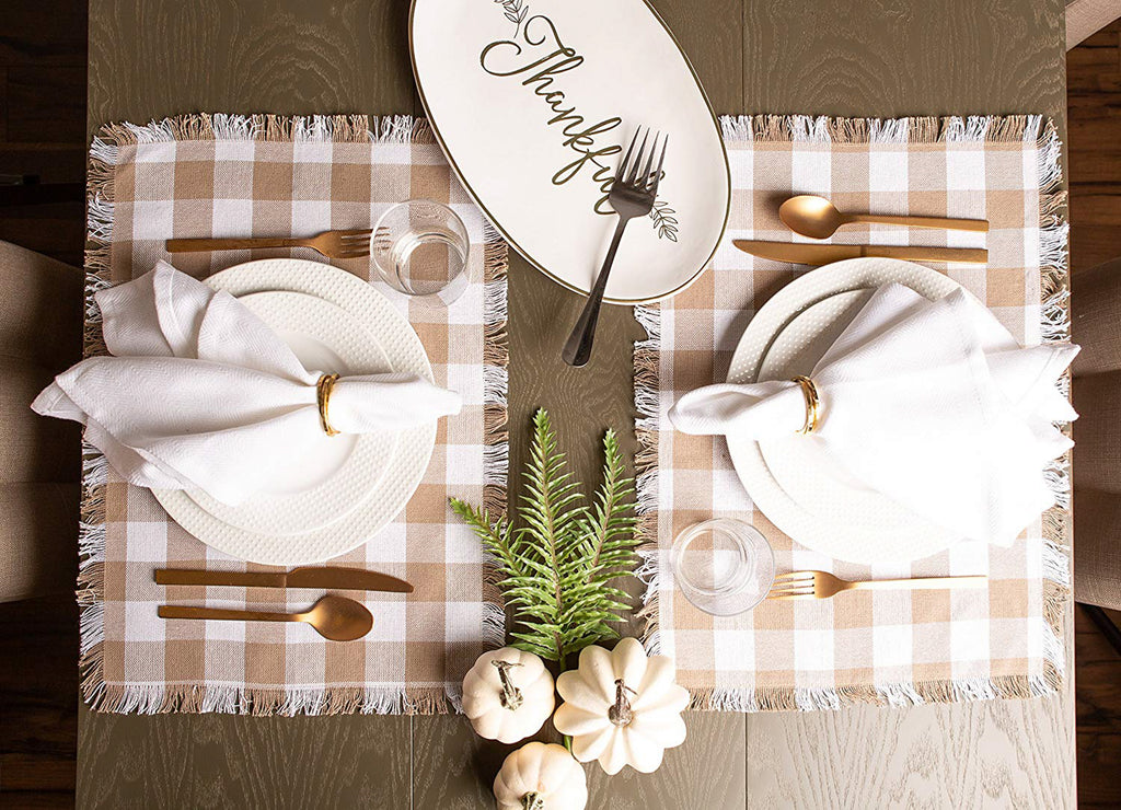 DII Stone Heavyweight Check Fringed Placemat (Set of 6)
