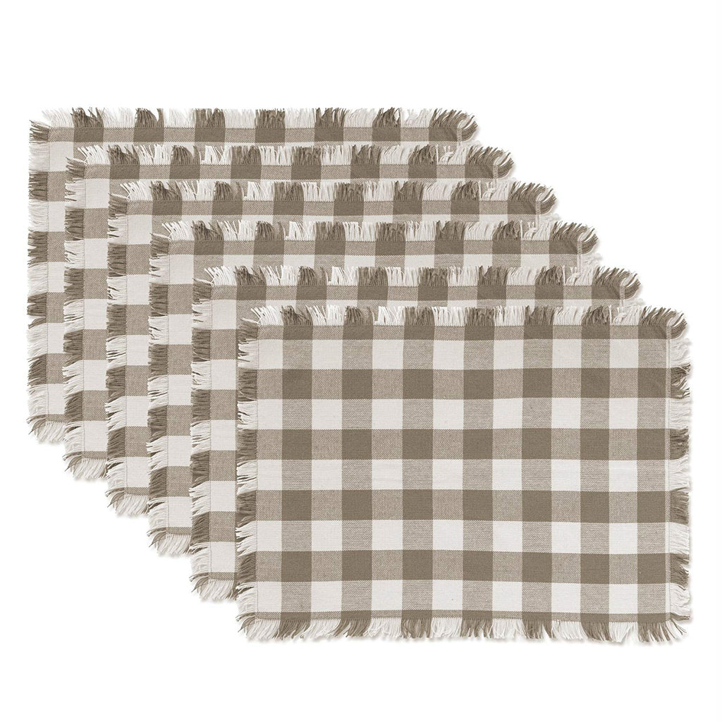 Stone Heavyweight Check Fringed Placemat Set/6
