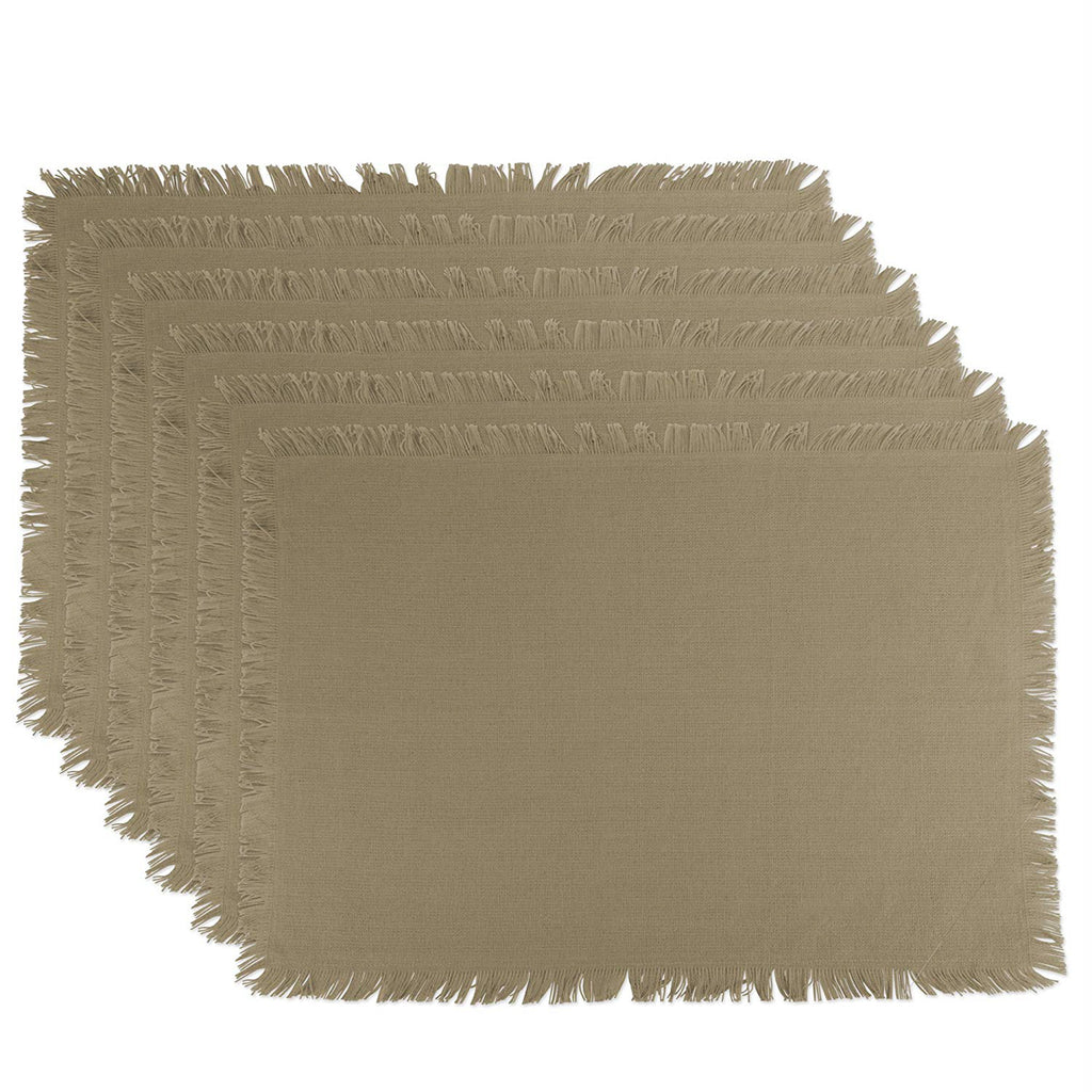 Solid Stone Heavyweight Fringed Placemat Set/6