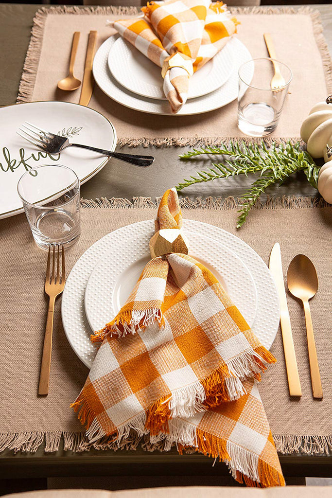 DII Solid Stone Heavyweight Fringed Placemat (Set of 6)