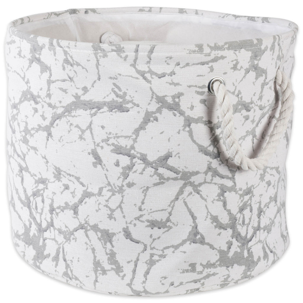 Polyester Bin Marble White Round Large 15x16x16