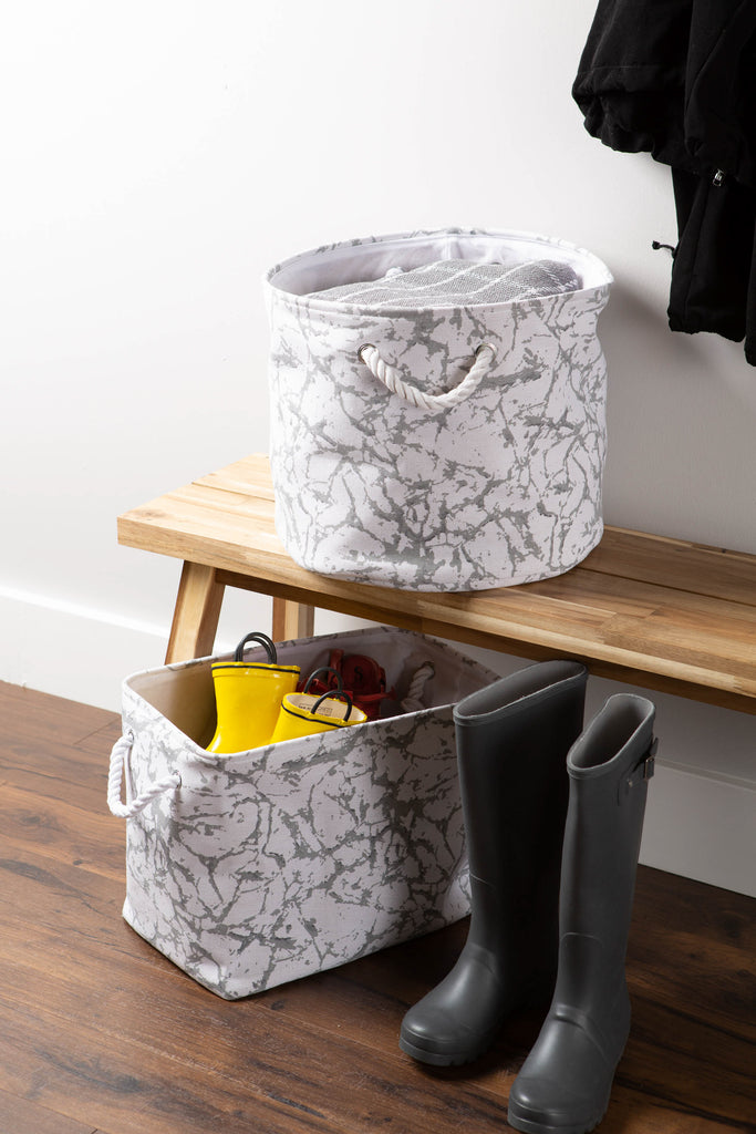 DII Polyester Bin Marble White Round Large