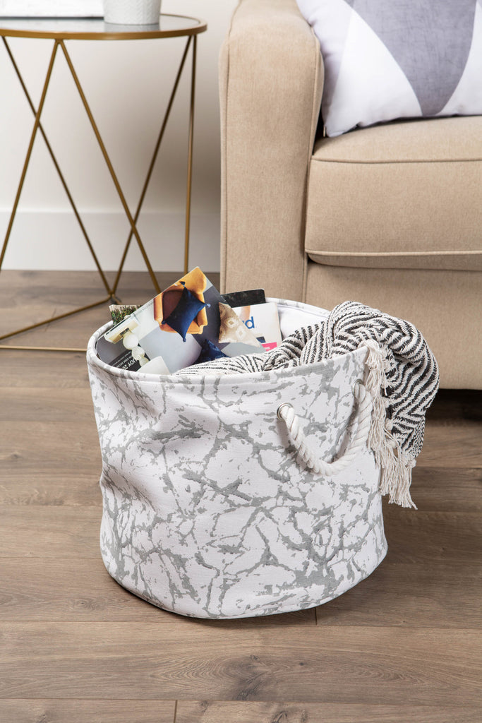 DII Polyester Bin Marble White Rectangle Large