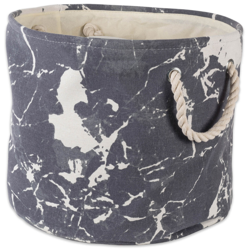 Polyester Bin Marble Black Round Large 15x16x16