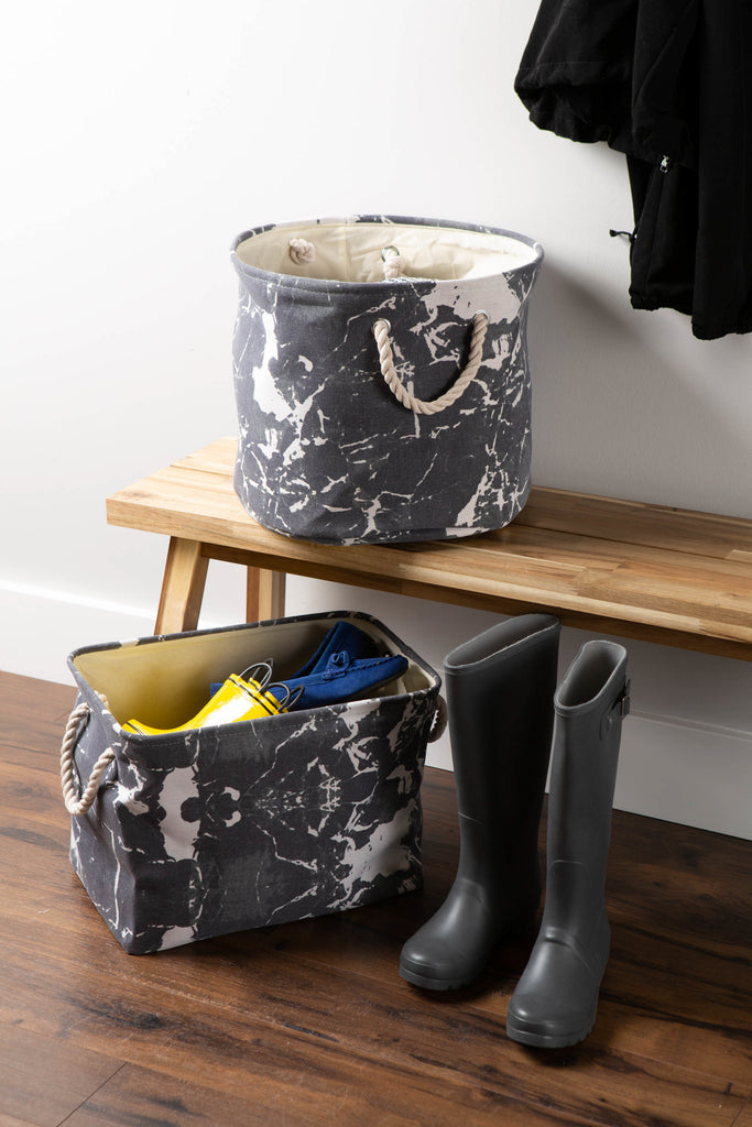 DII Polyester Bin Marble Black Round Large