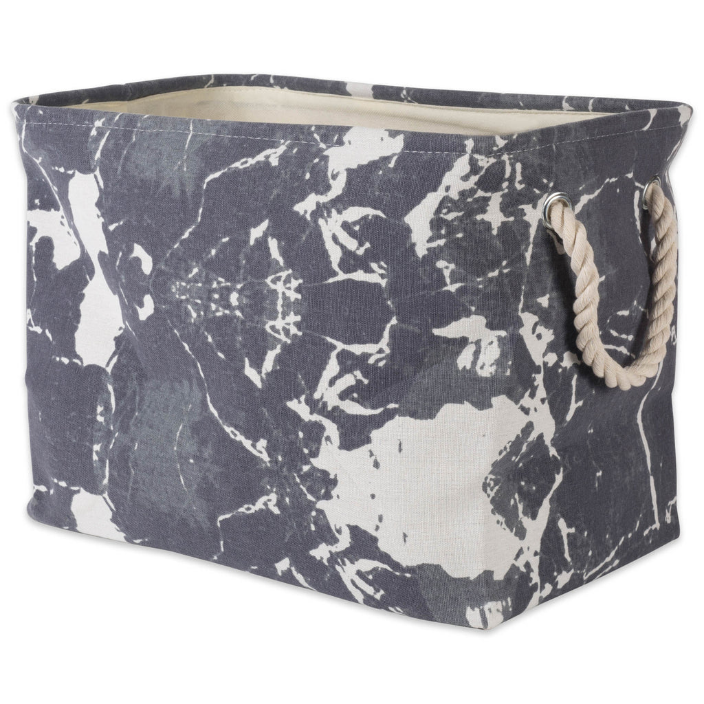 Polyester Bin Marble Black Rectangle Large 17.5x12x15