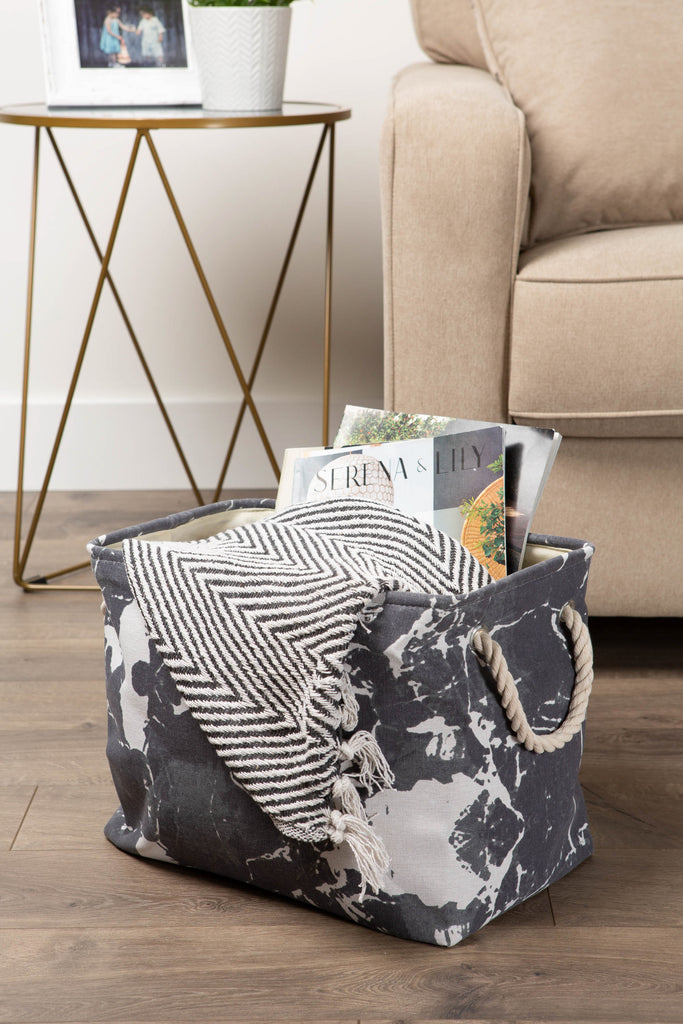 DII Polyester Bin Marble Black Rectangle Large