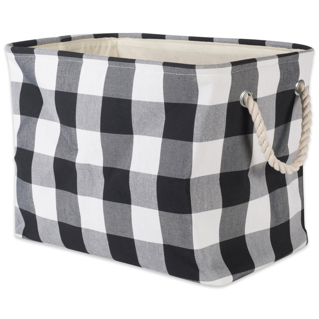 Polyester Bin Buffalo Check White / Black Rectangle Medium 16x10x12