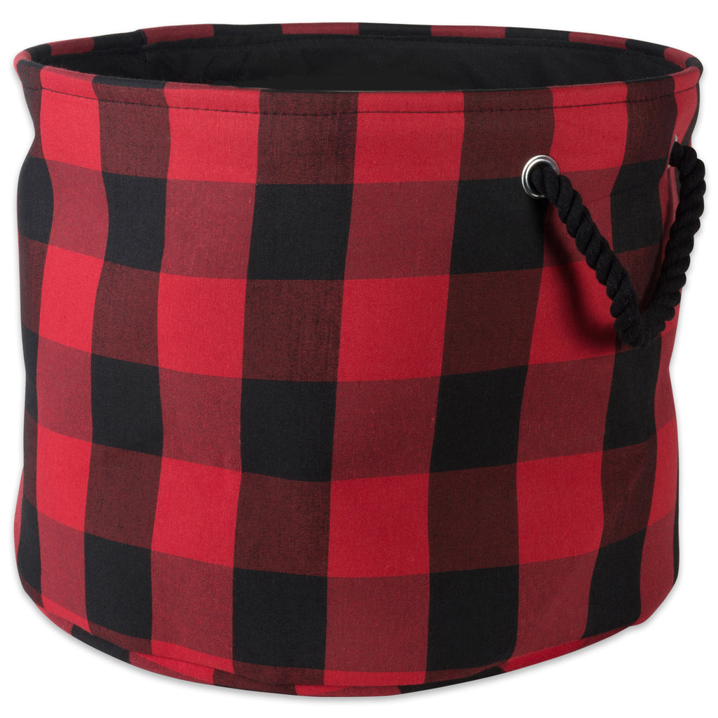 Polyester Bin Buffalo Check Red / Black Round Large 15x16x16