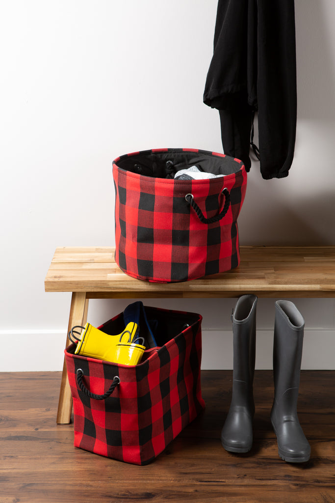 DII Polyester Bin Buffalo Check Red / Black Round Large