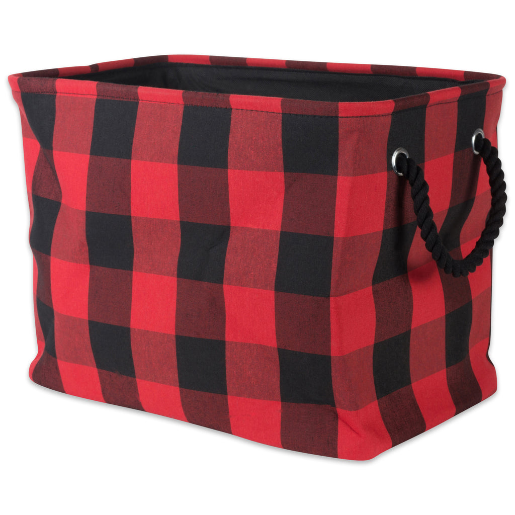 Polyester Bin Buffalo Check Red / Black Rectangle Medium 16x10x12