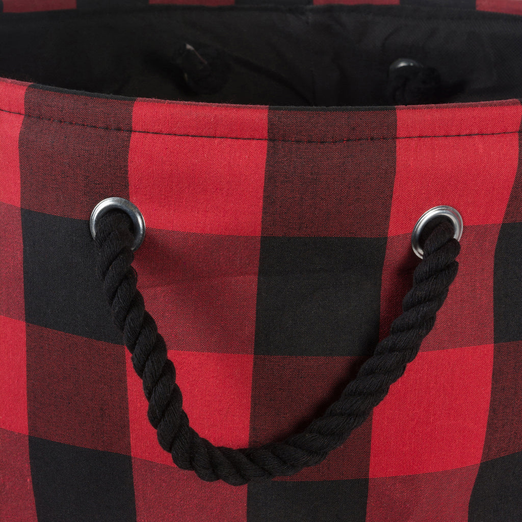 DII Polyester Bin Buffalo Check Red / Black Rectangle Medium