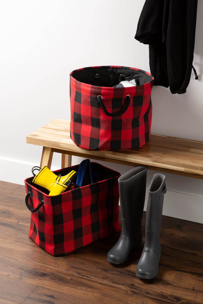 DII Polyester Bin Buffalo Check Red / Black Rectangle Large
