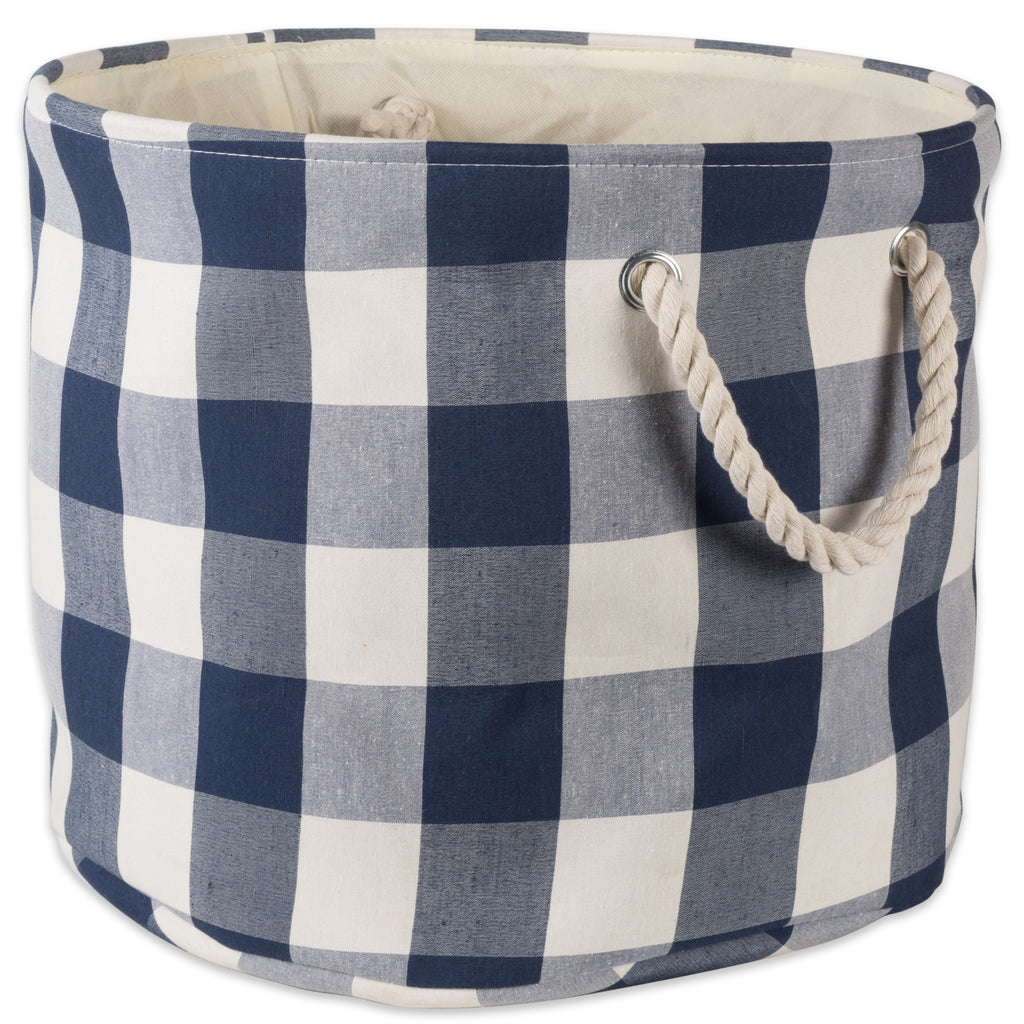 Polyester Bin Buffalo Check Off White / Navy Round Medium 12x15x15