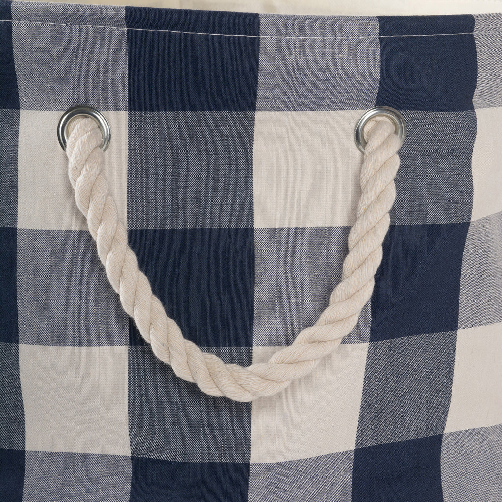 DII Polyester Bin Buffalo Check Off White / Navy Rectangle Large