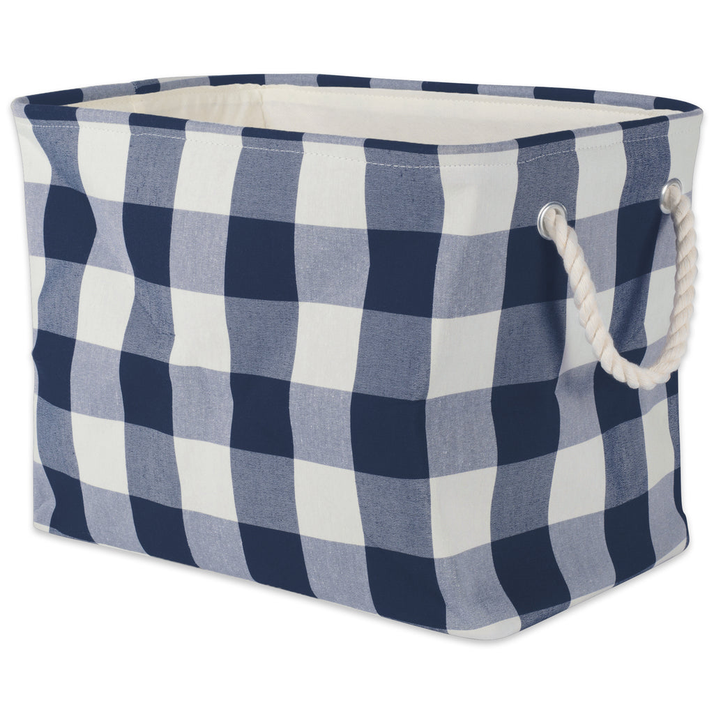 Polyester Bin Buffalo Check Off White / Navy Rectangle Large 17.5x12x15