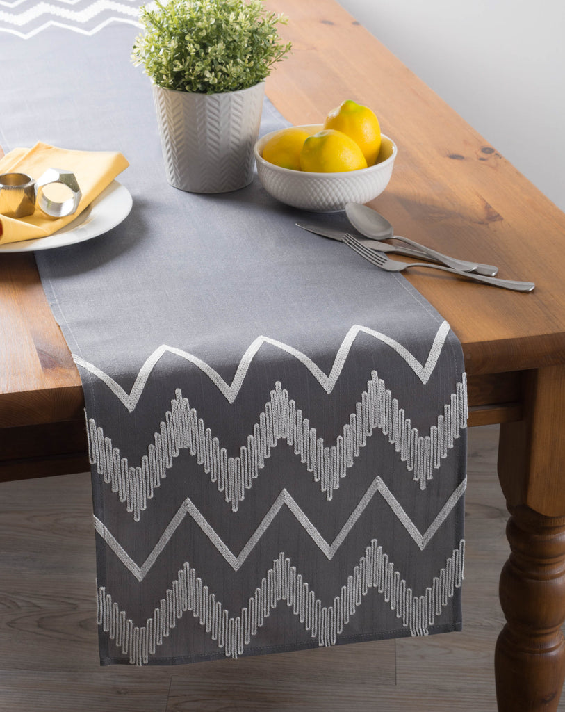 DII Gray Base Embroidered Chevron Table Runner, 14x70""
