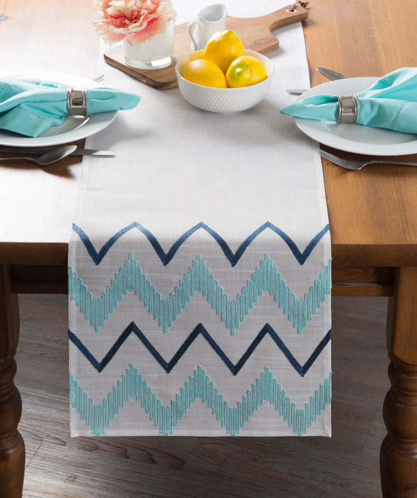 DII Off White Base Embroidered Chevron Table Runner, 14x70""