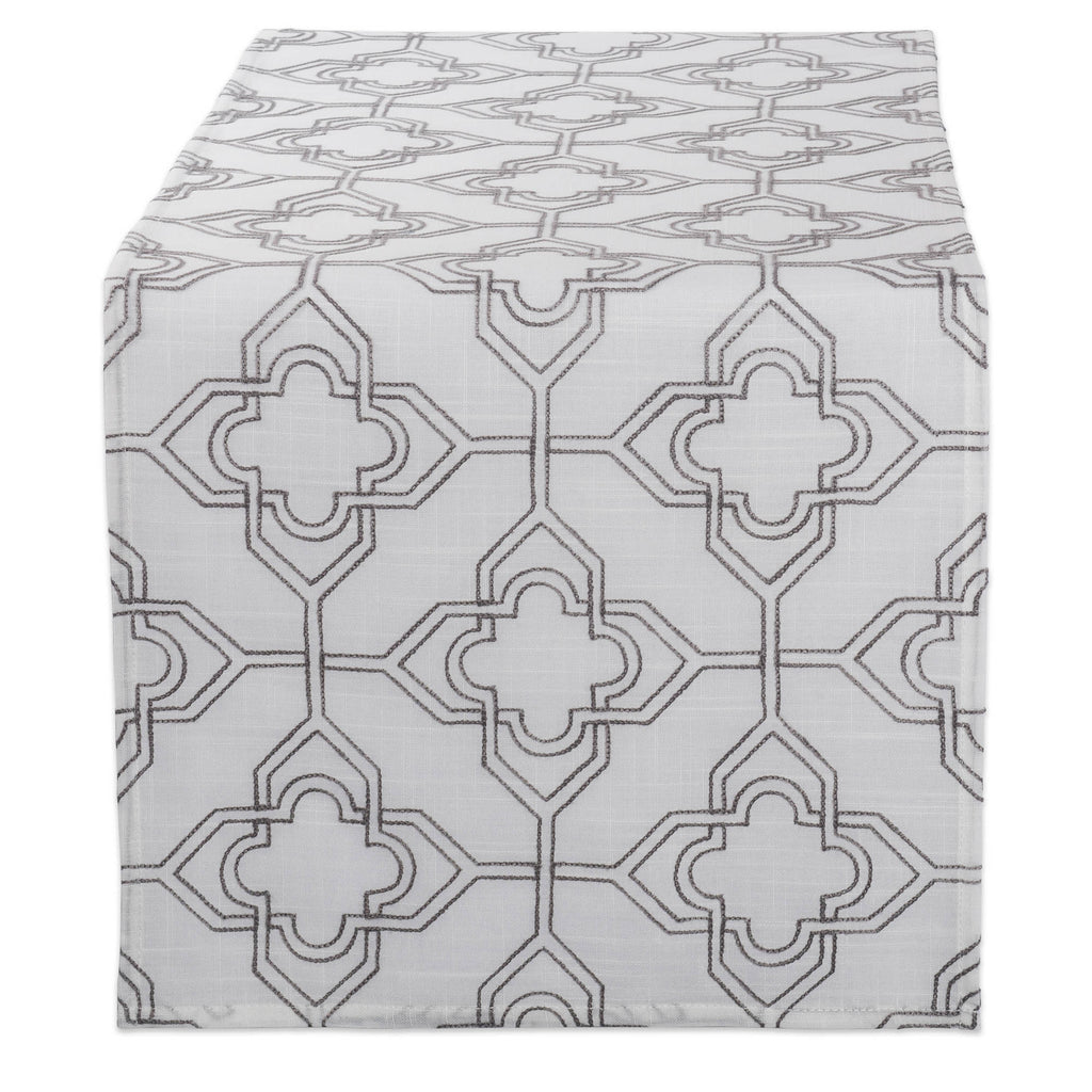 Off White Base Embroidered Lattice Table Runner