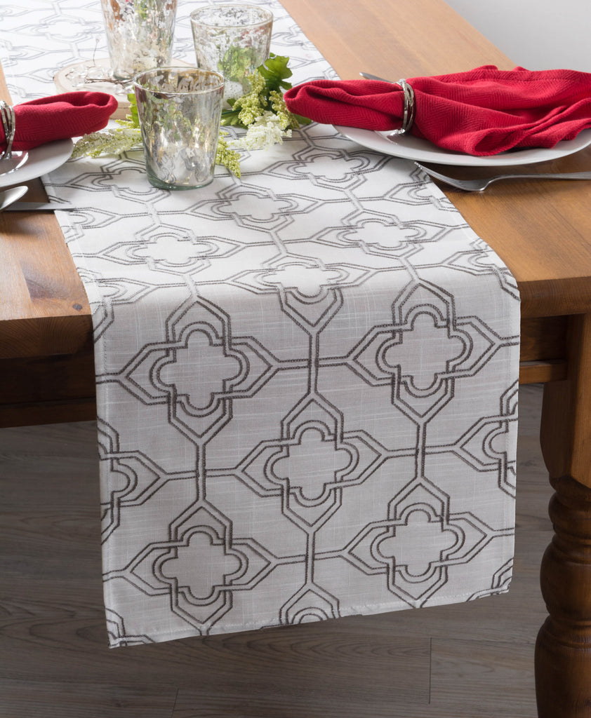 DII Off White Base Embroidered Lattice Table Runner, 14x70""