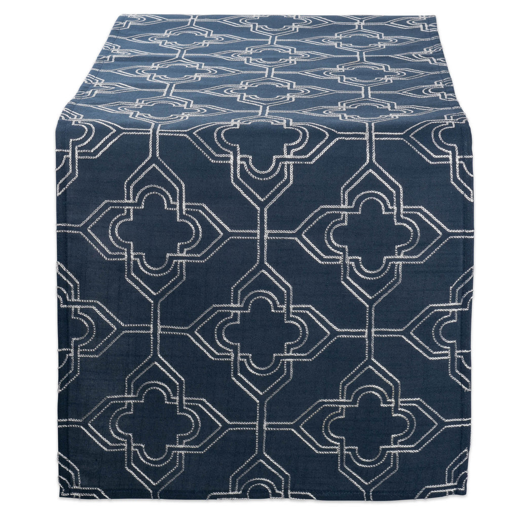 Navy Base Embroidered Lattice Table Runner