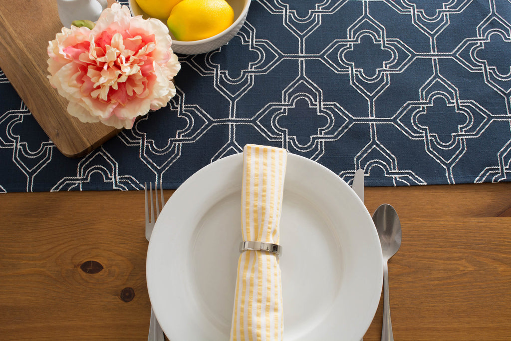 DII Navy Base Embroidered Lattice Table Runner, 14x70""